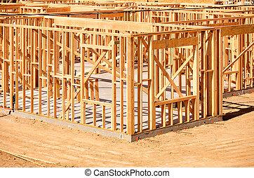 nuevo, construcción, encuadrado, hogar