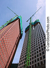 nuevo, construcción, rascacielos, dos