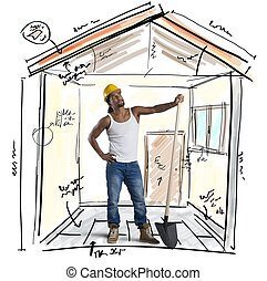 nuevo, construcción, trabajando, albañil