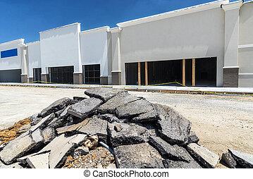 nuevo, construcción, venta al por menor, tira, centro