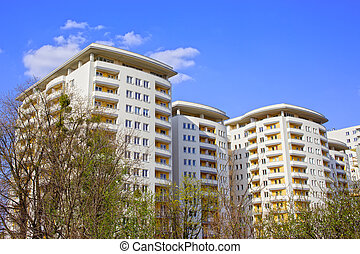 nuevo, contemporáneo, edificio apartamento