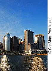 nuevo, contorno, ciudad, manhattan, york