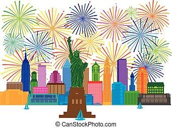 nuevo, contorno, fuegos artificiales, york, ilustración