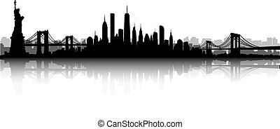 nuevo, contorno, vector, york, ciudad