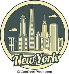 nuevo, contorno, york, ciudad