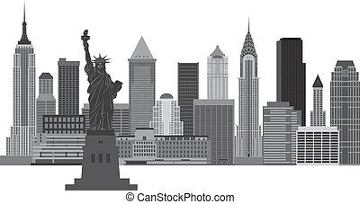 nuevo, contorno, york, ilustración, ciudad