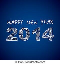 nuevo, creativo, año,  2014, feliz
