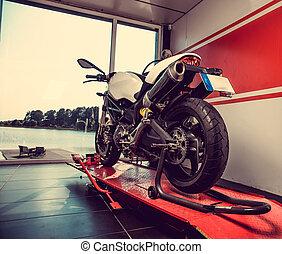 nuevo, deporte, garage., motocicleta