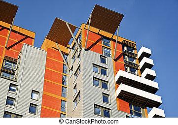 nuevo, edificio apartamento