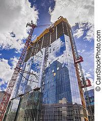 nuevo, edificio de cristal, construcción