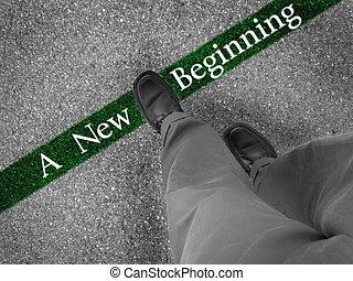 nuevo, el caminar hacia, principio
