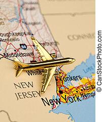 nuevo, encima, avión, york