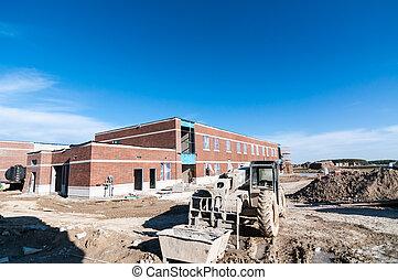 nuevo, escuela, edificio, bajo construcción