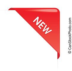 nuevo, esquina, empresa / negocio, cinta, rojo