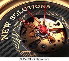 nuevo, face., reloj, black-golden, soluciones