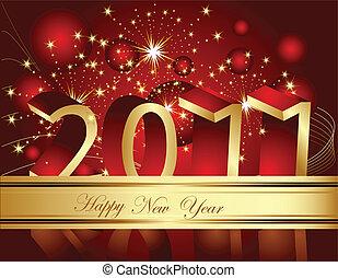 nuevo, feliz, 2011, plano de fondo, año