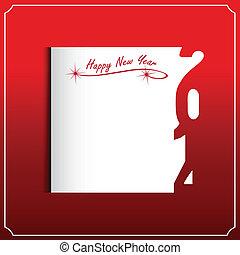 nuevo, feliz, 2014, tarjeta, año