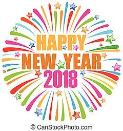 nuevo, feliz, 2018, año