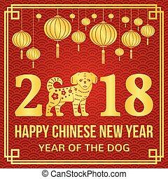 nuevo, feliz, 2018, chino, año