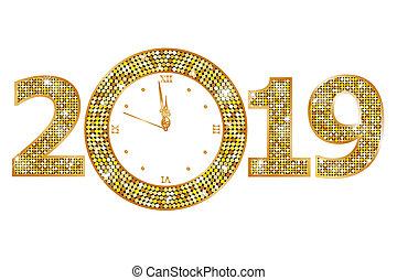 nuevo, feliz, 2019, año