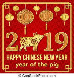 nuevo, feliz, 2019, chino, año