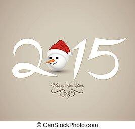 nuevo, feliz, card., año