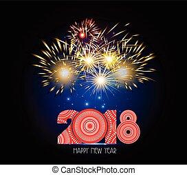 nuevo, feliz, fuegos artificiales, 2018, año