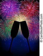 nuevo, feliz, fuegos artificiales, champaña, año