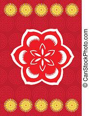 nuevo, flor, año, chino, patrón