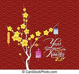 nuevo, flor, feliz, chino, año