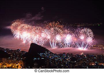 nuevo, fuegos artificiales, año, copacabana