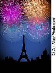 nuevo, fuegos artificiales, año, feliz, francia