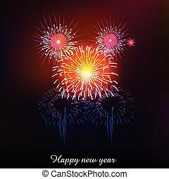 nuevo, fuegos artificiales, feliz, año