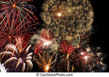 nuevo, fuegos artificiales, year\'s, eva, año
