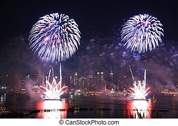 nuevo, fuegos artificiales, york, ciudad