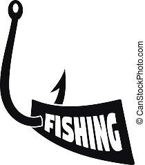 nuevo, gancho de pesca, logotipo, simple, estilo