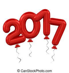 nuevo, globos, año