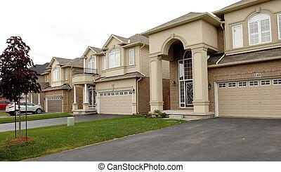 nuevo, grande, casas, en, un, subdivisión, en, canadá