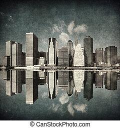 nuevo, imagen, grunge, contorno, york