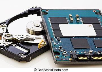 nuevo, mecánico, technogogy, elementos, viejo, tecnología, ...