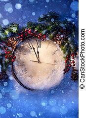 nuevo, medianoche, eva, navidad, años