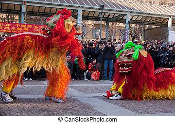 nuevo, milan, desfile, chino, año