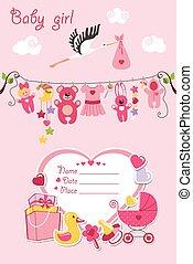 nuevo nacido, nena, tarjeta, ducha, invitación