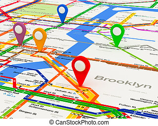 nuevo, navegación, york, mapa metro