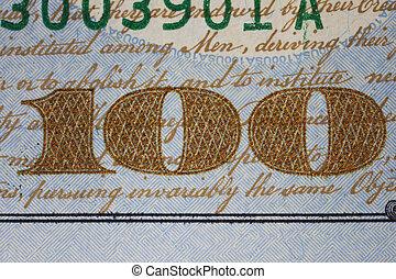 nuevo, nosotros, un billete de cien dólares, detalle