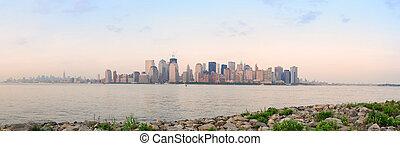 nuevo, orilla, río, york, ciudad