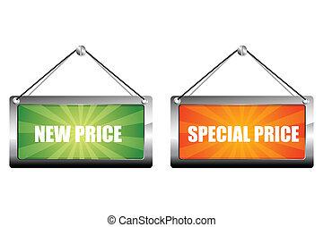 nuevo, precio, especial, etiquetas