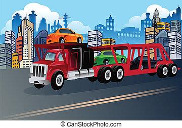 nuevo, proceso de llevar, camión, coches