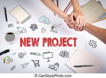 nuevo, proyecto, concept., el, reunión, en, el, blanco, oficina, tabla
