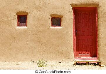 nuevo, puerta, adobe, méxico
